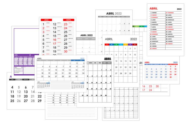 Calendario abril 2022