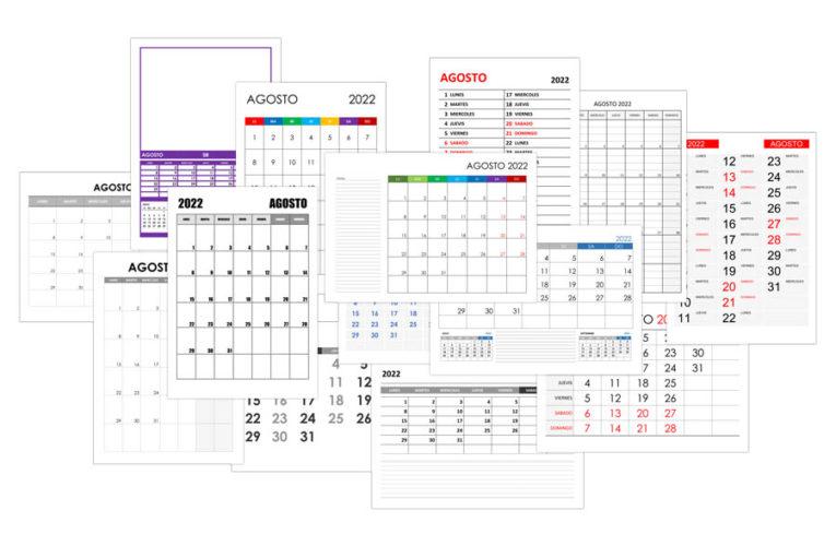 Calendario agosto 2022