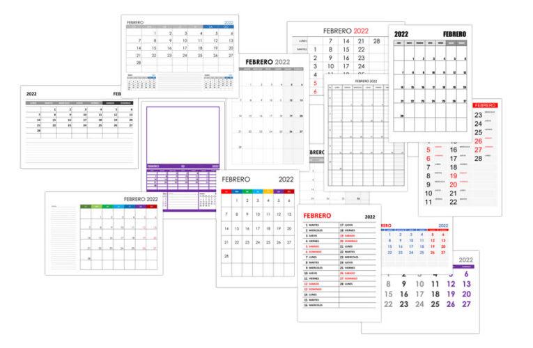 Calendario febrero 2022