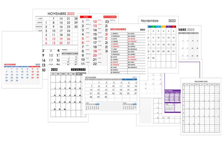 Calendario noviembre 2022