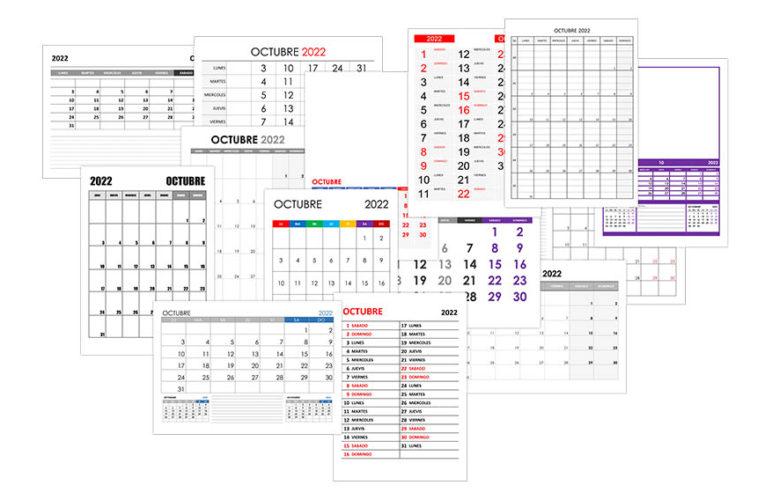 Calendario octubre 2022