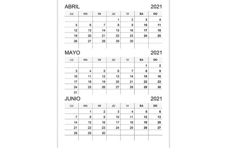 Calendario abril, mayo, junio 2021