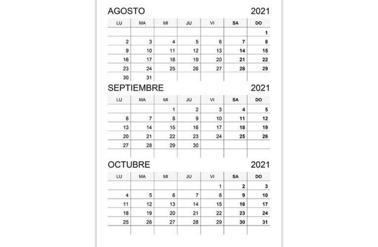 Calendario agosto, septiembre, octubre 2021