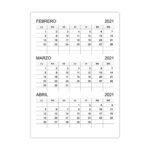 Calendario febrero, marzo, abril 2021