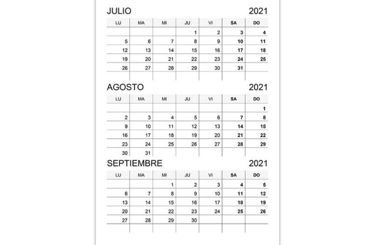 Calendario julio, agosto, septiembre 2021