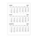 Calendario junio, julio, agosto 2021