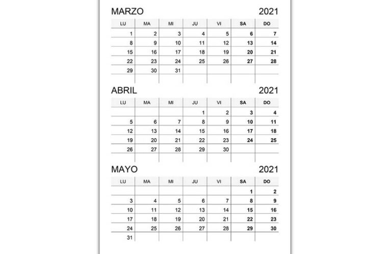 Calendario marzo, abril, mayo 2021