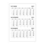 Calendario octubre, noviembre, diciembre 2021
