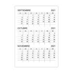 Calendario septiembre, octubre, noviembre 2021