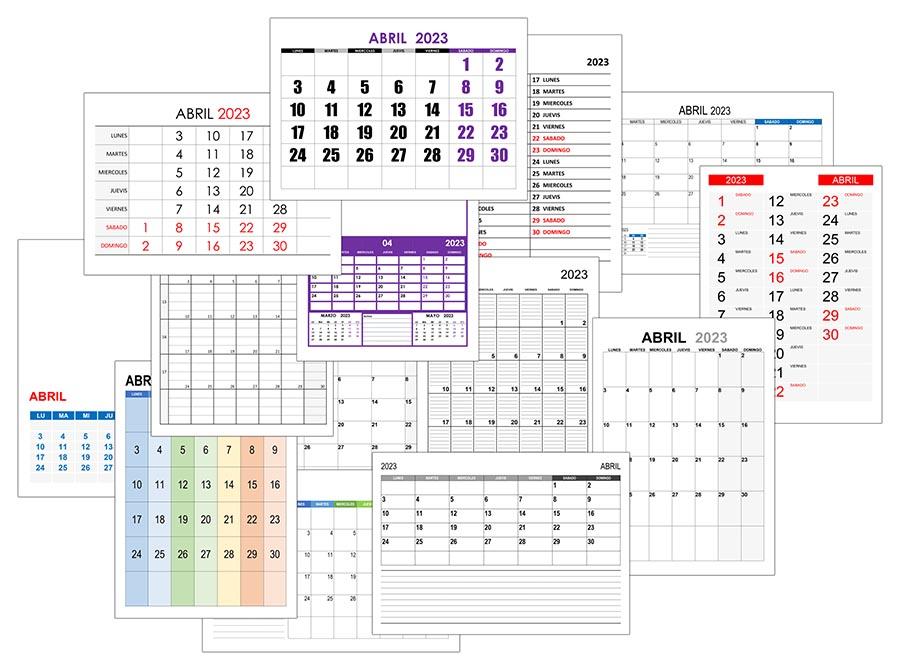 Calendario abril 2023