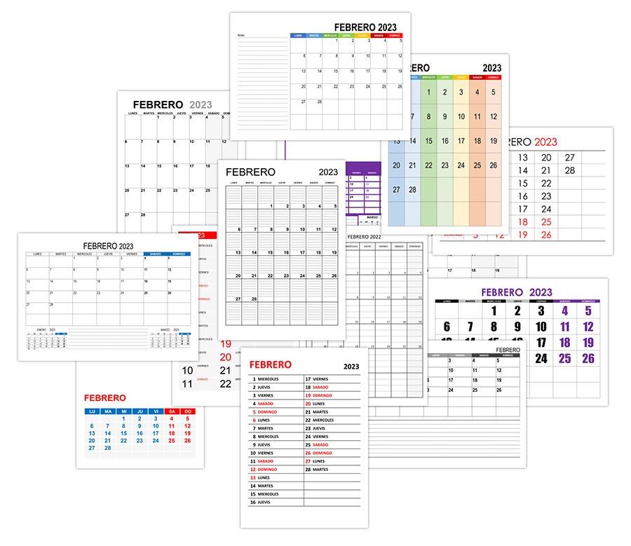 Calendario febrero 2023