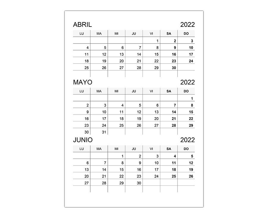 Calendario abril, mayo, junio 2022