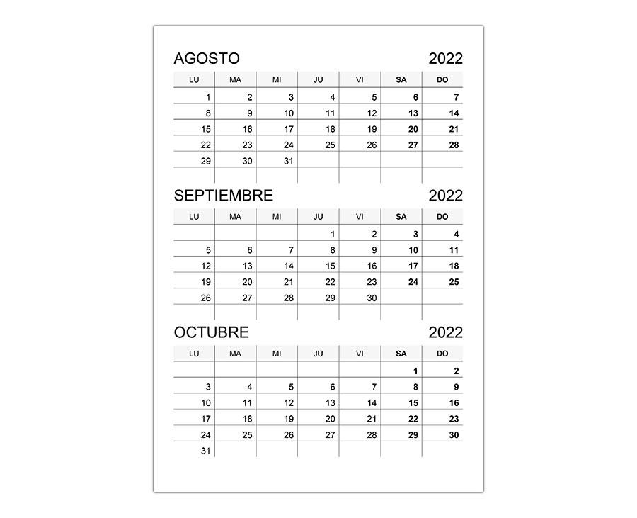 Calendario agosto, septiembre, octubre 2022
