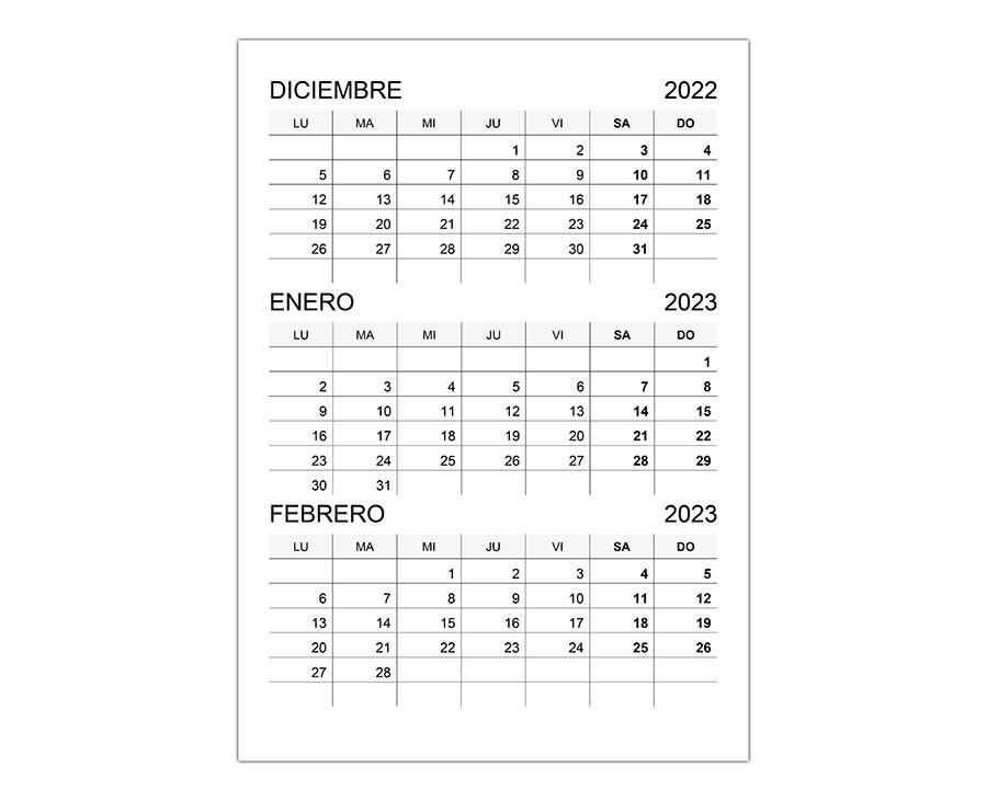 Calendario diciembre 2022, y enero, febrero 2023