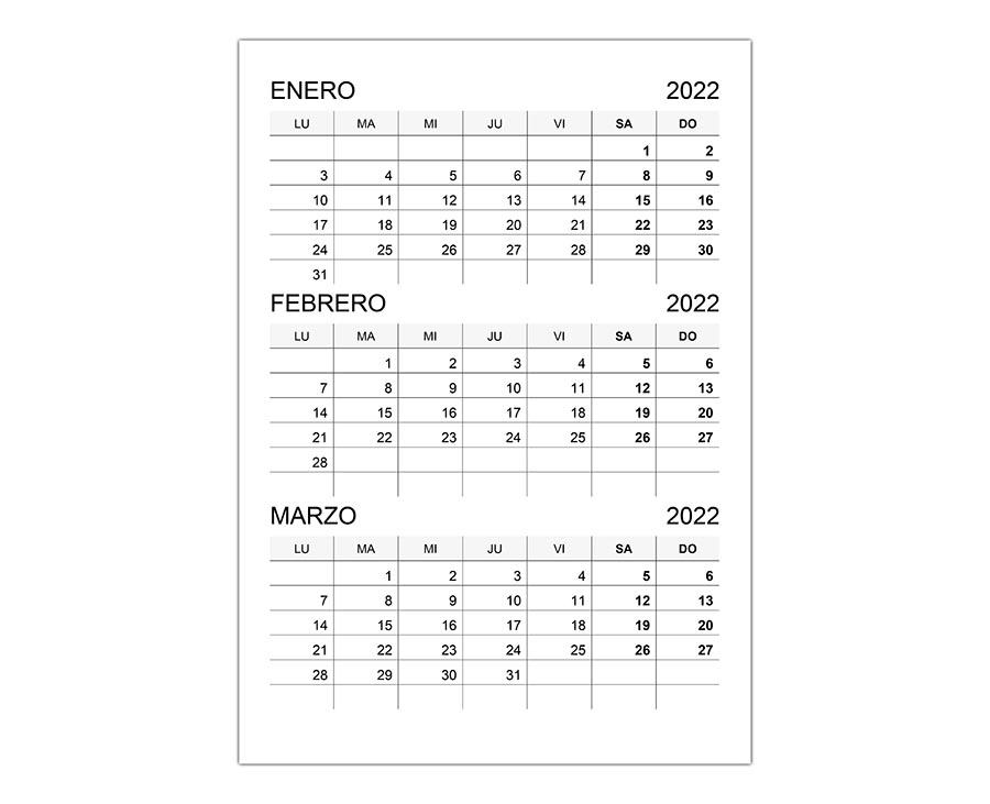 Calendario enero, febrero, marzo 2022