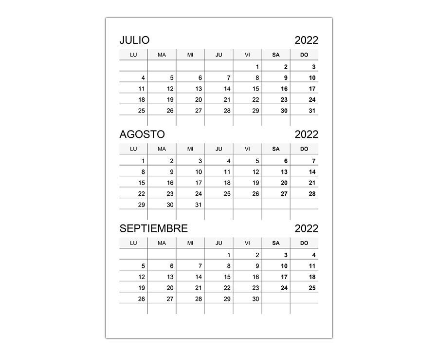 Calendario julio, agosto, septiembre 2022