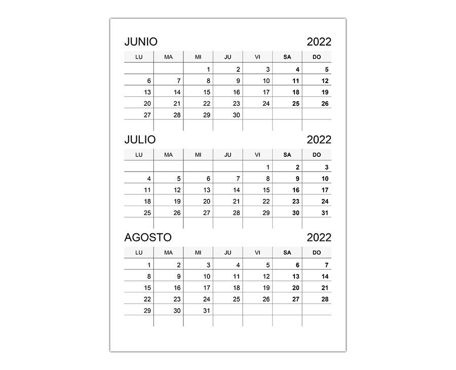 Calendario junio, julio, agosto 2022