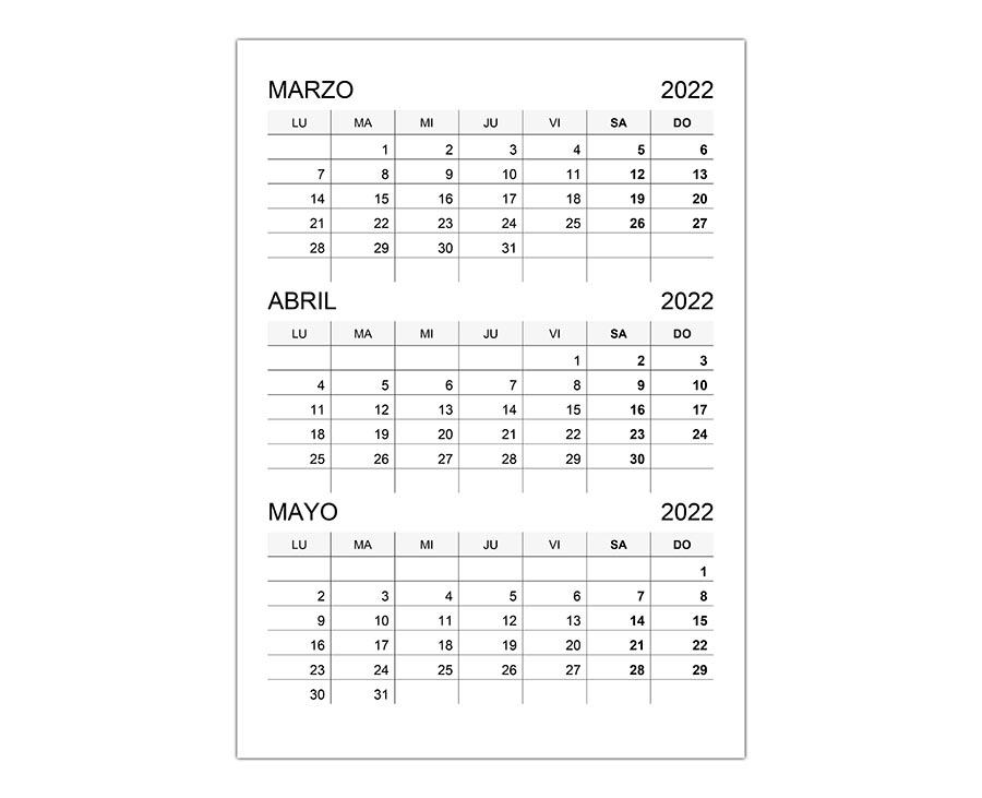 Calendario marzo, abril, mayo 2022