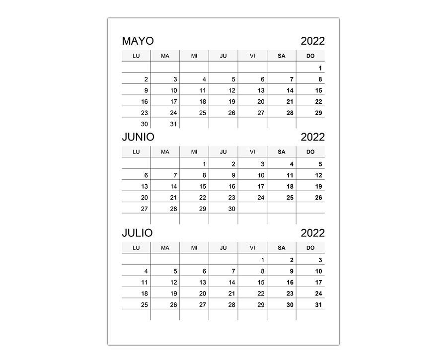 Calendario mayo, junio, julio 2022