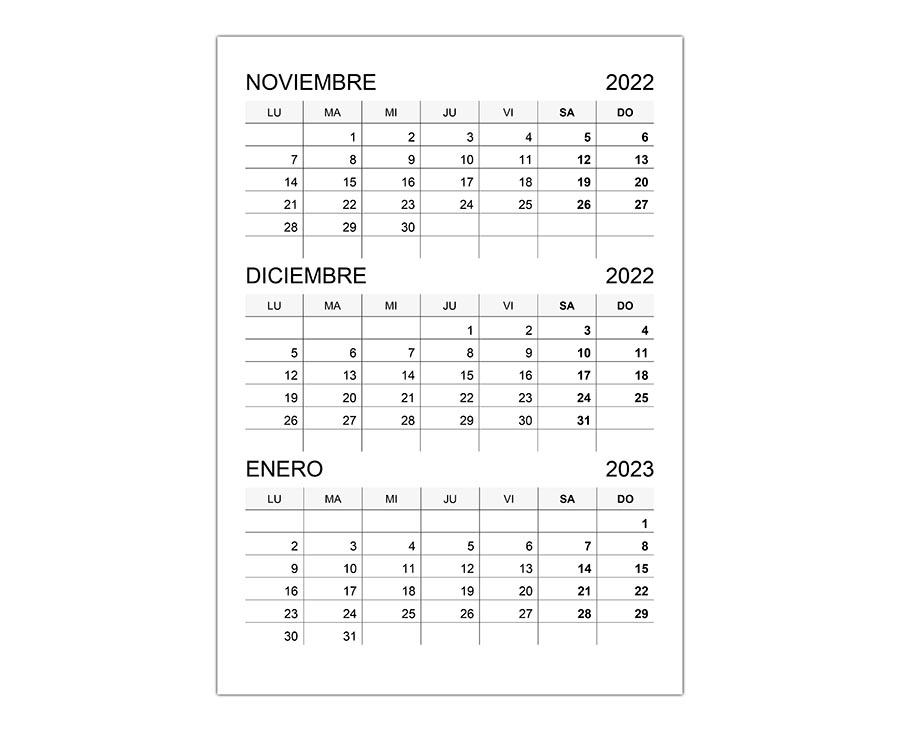 Calendario noviembre, diciembre 2022, y enero 2023