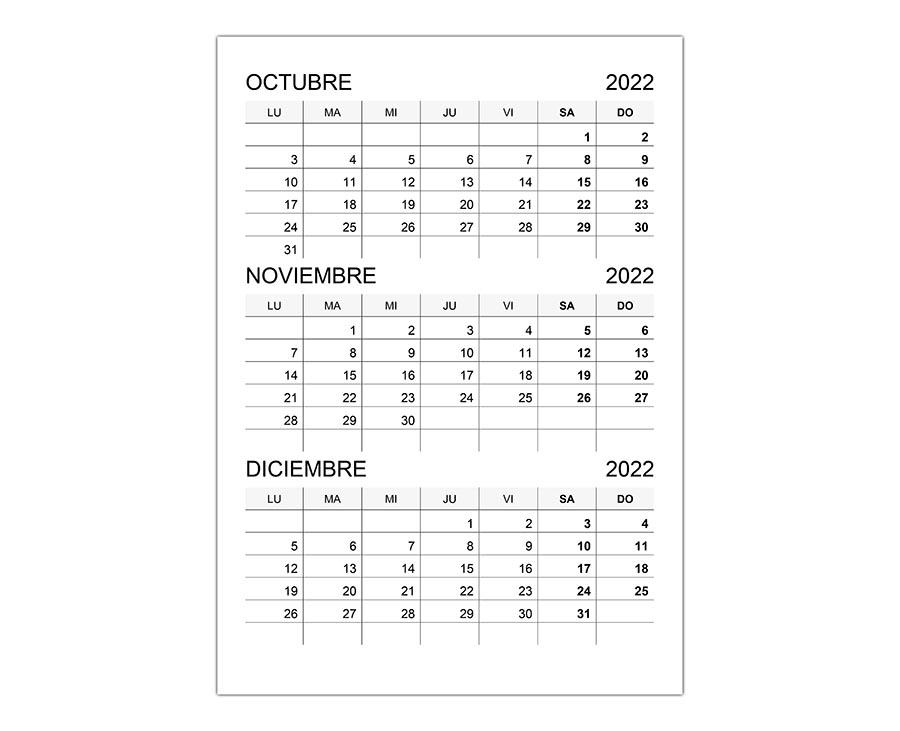 Calendario octubre, noviembre, diciembre 2022