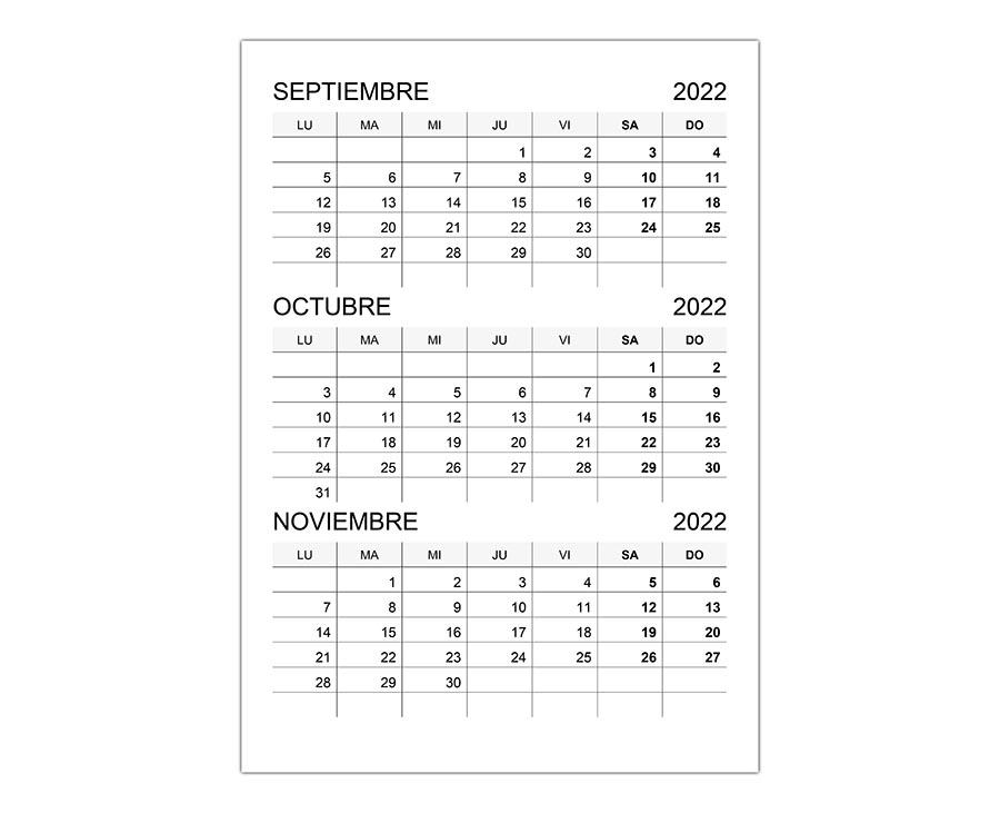 Calendario septiembre, octubre, noviembre 2022